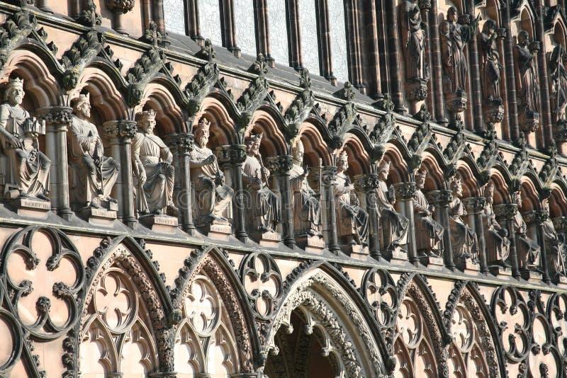 Lichfield cathedral saints. Ecclesiastical, god, gods, church, spire, architecture, religion, medieval, past, pray stock photo