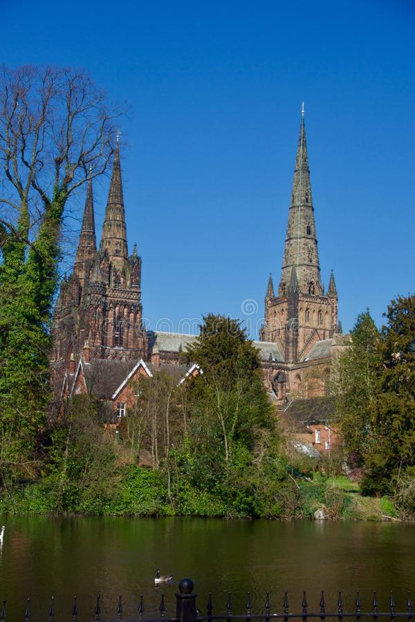 A countryside portrait of Lichfield cathedral. Lichfield Cathedral Staffordshire England united kingdom royalty free stock image