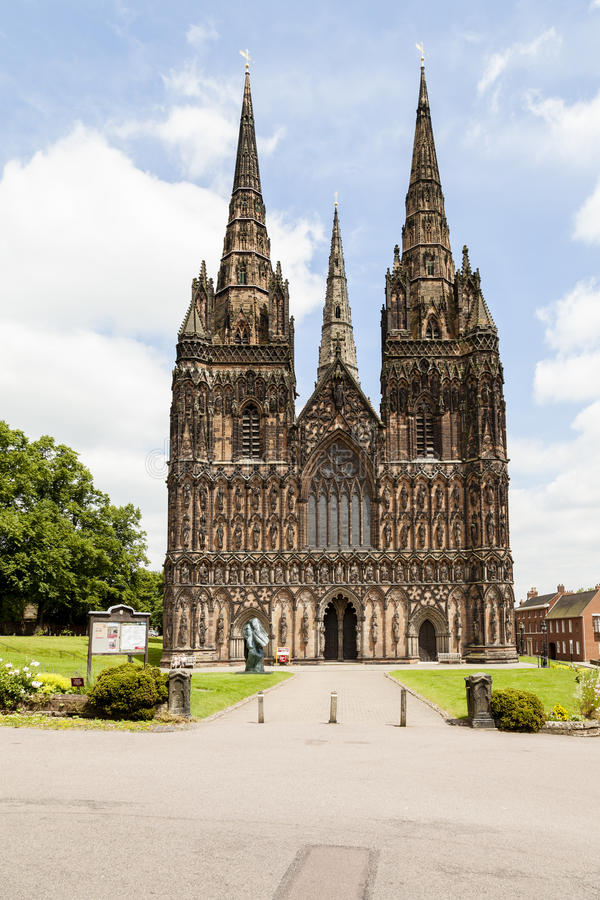 Lichfield Cathedral. Lichfield, Staffordshire, England, United Kingdom - Jun 25, 2014 : Lichfield Cathedral, is the only medieval English cathedral with three royalty free stock images