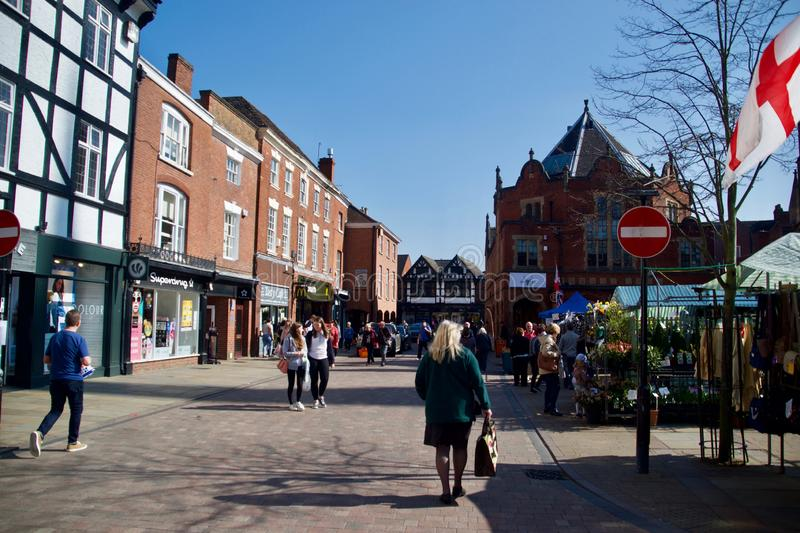 Down the street at Lichfield. Lichfield Staffordshire England united kingdom royalty free stock images