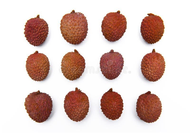 Lichi, frutas del lichí aisladas en el fondo blanco fotos de archivo libres de regalías