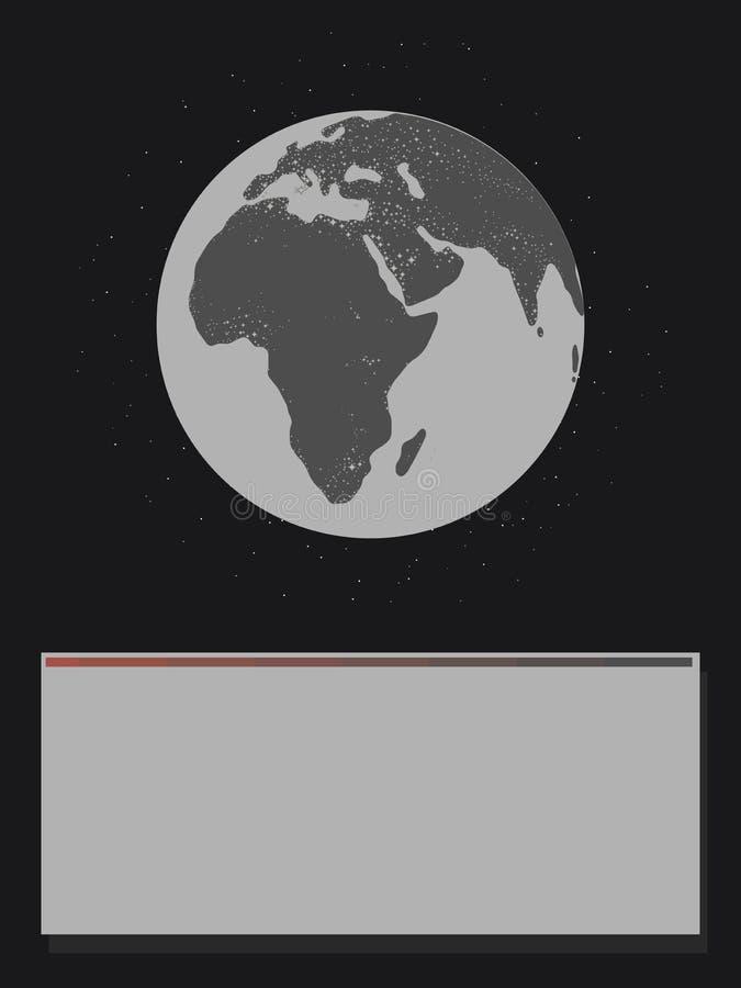Licht-Beleuchtungserde Eurasiens Afrika Kontinente des Schwarzweiss-Planeten glühende im schwarzen Raum mit Sternen von unterhalb stock abbildung