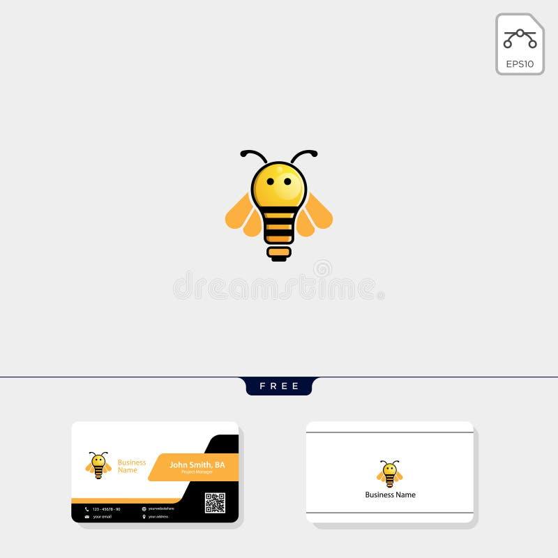 licht, bij, vliegende het malplaatje vectorillustratie van het bijenembleem, vrij adreskaartjeontwerp royalty-vrije illustratie