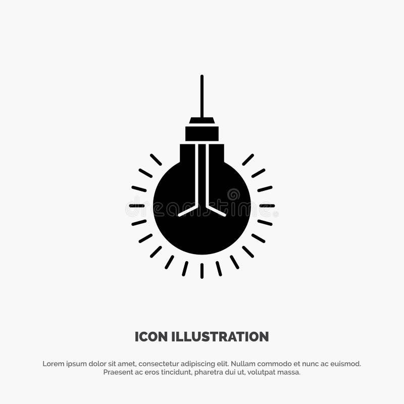 Licht, Birne, Idee, Spitzen, Vorschlag fester Glyph-Ikonenvektor vektor abbildung