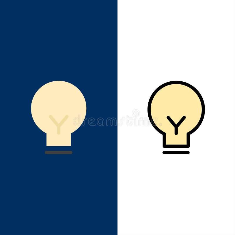 Licht, Bol, Basis, Ui-Pictogrammen Vlak en Lijn vulde Pictogram Vastgestelde Vector Blauwe Achtergrond royalty-vrije illustratie