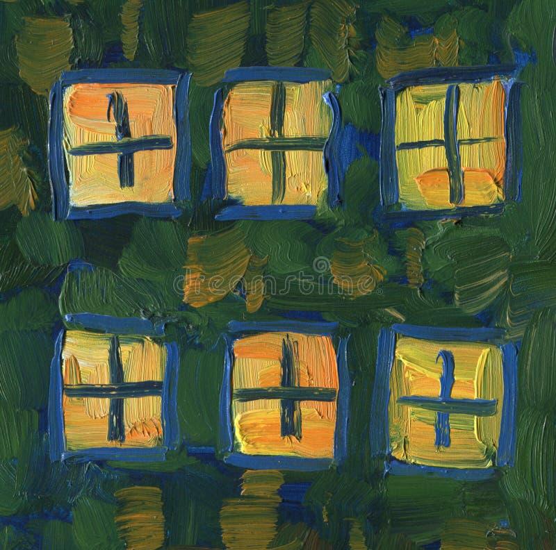 Licht in de vensters van het huis Landschap met rivier en bos vector illustratie