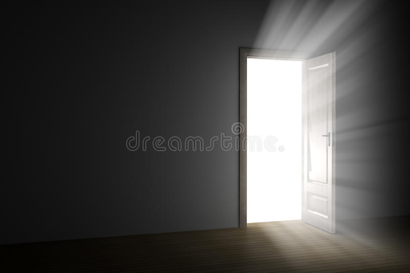 Licht door een open deur stock illustratie