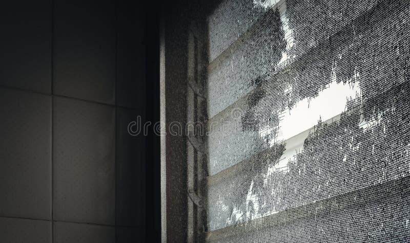 Licht door het gat van het oude scherm van de muggendraad stock fotografie