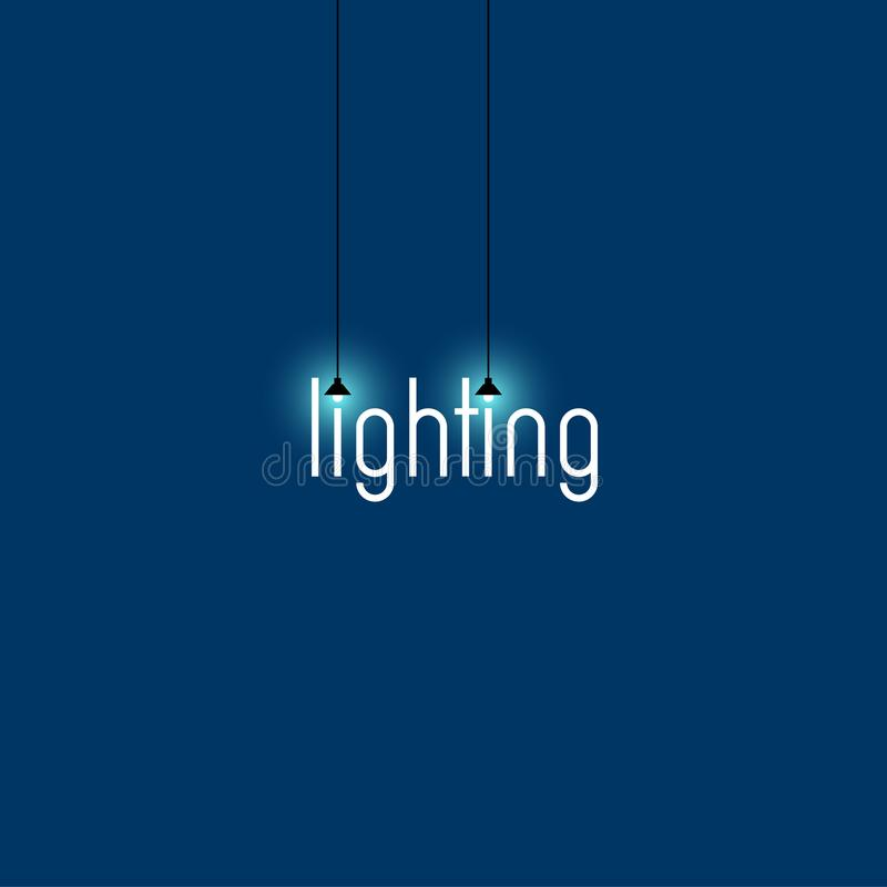 Licht embleem Aanstekend opslagembleem Witte brieven op een blauwe achtergrond met twee gloeilampen stock illustratie