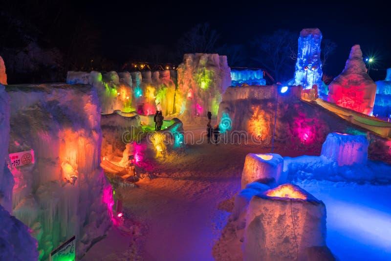 Licht festival in Hokkaido stock afbeelding