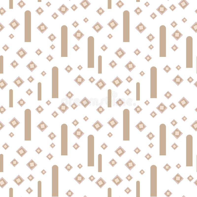 Licht geometrisch vector naadloos patroon met bleke bruine koffie fijne ruiten en verticale strepen op een witte achtergrond royalty-vrije illustratie