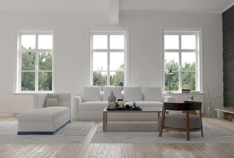 Licht helder modern woonkamerbinnenland royalty-vrije illustratie