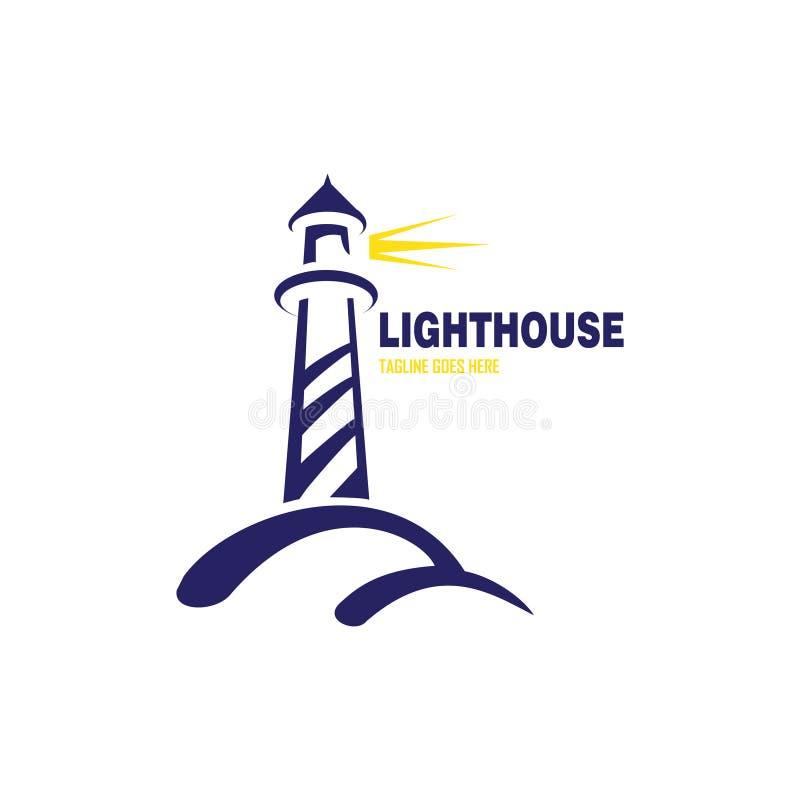 Licht huis met geel licht embleem royalty-vrije illustratie