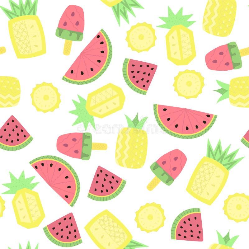 Licht naadloos patroon met abstract watermeloenen, ananassen en roomijs vector illustratie