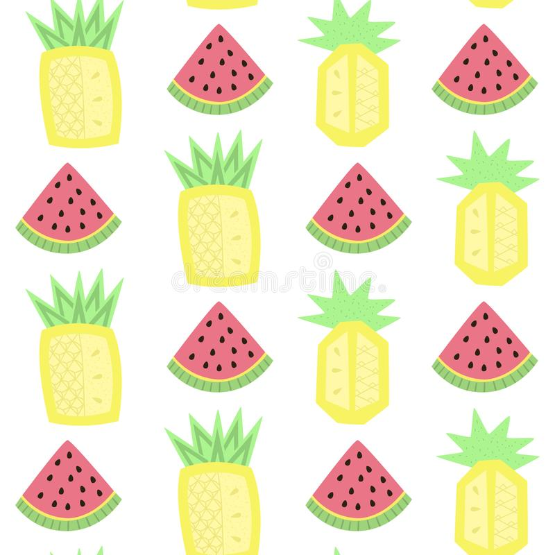 Licht naadloos patroon met abstracte watermeloenen en ananassen stock illustratie