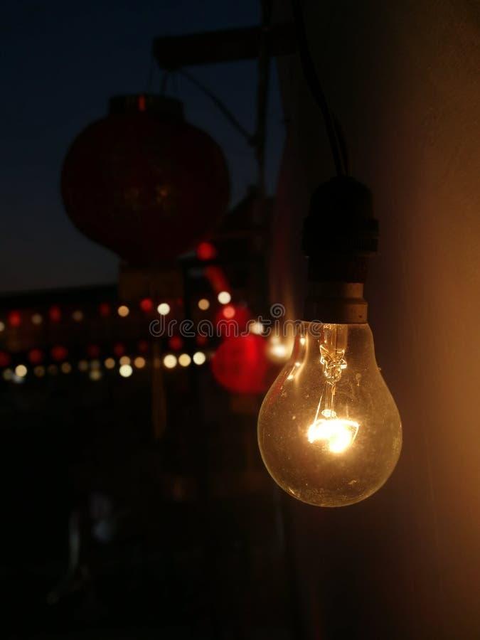 Licht in nacht stock afbeelding