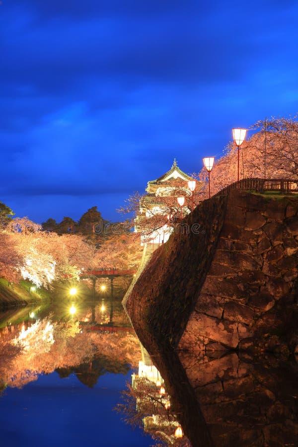 Licht omhoog van het kasteel en de kersenbloesems van Hirosaki stock afbeelding