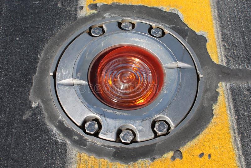 Licht op taxibaan stock foto's