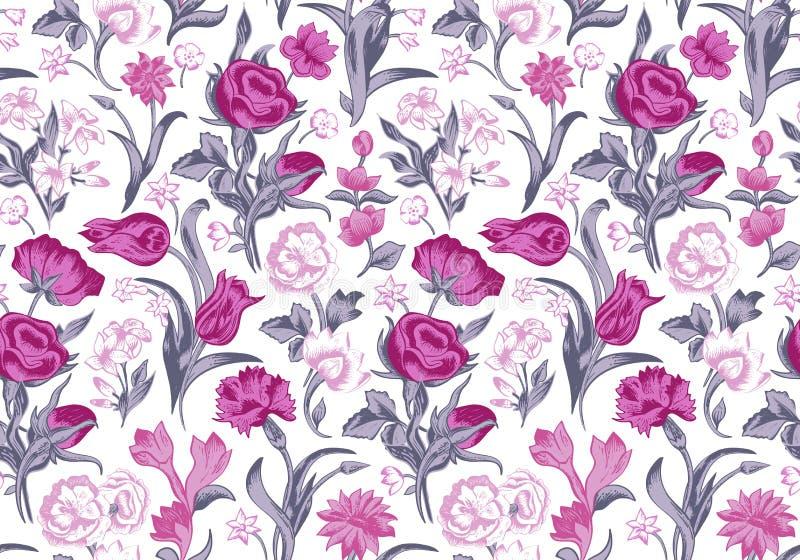 Licht romantisch naadloos vector uitstekend bloemenpatroon. royalty-vrije illustratie