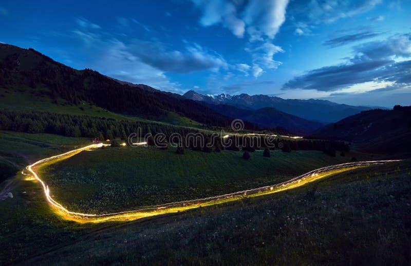 Licht spoor in de berg royalty-vrije stock afbeelding