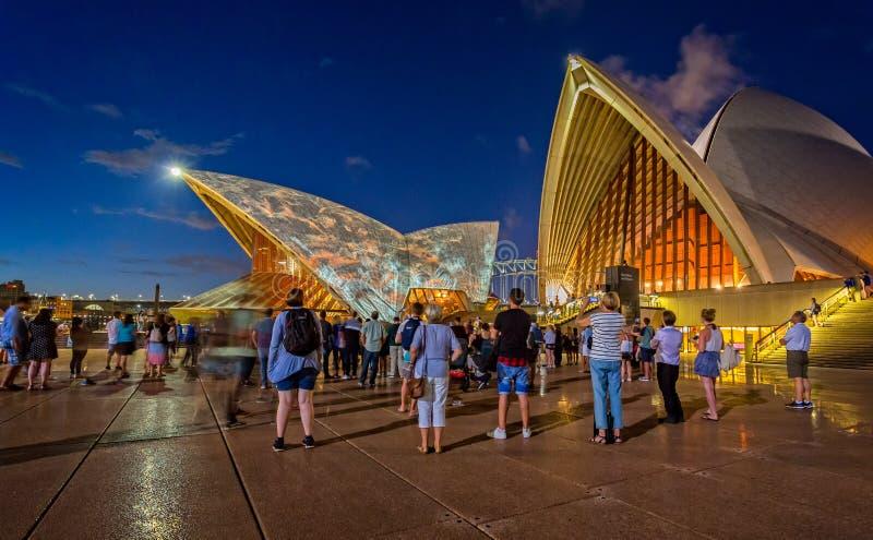 Licht toon op Sydney Opera House en Haven en nachthorizon stock fotografie