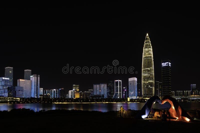 Licht toon in Shenzhen-Talentenpark, CHINA stock afbeelding