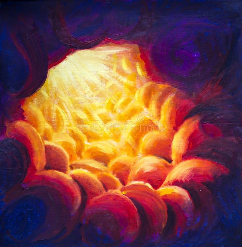 Licht in tunnel, ingang aan hemel, brand, ingang aan hel origineel het schilderen abstract art. royalty-vrije stock afbeelding