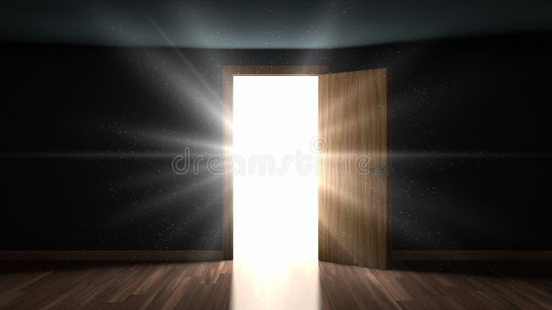 Licht und Partikel in einem Raum durch die Öffnungstür vektor abbildung
