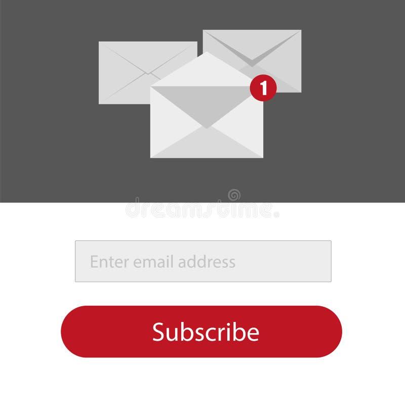 Licht unterzeichnen zur Newsletterform in den Roten, Grau- und whittefarben - emailen Sie Vektor stock abbildung