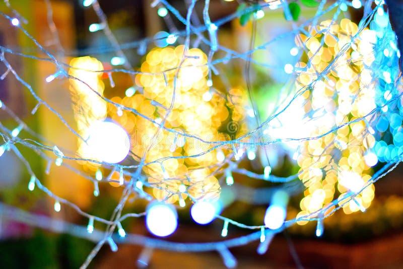 Licht van boom en kleurrijk neon stock afbeelding