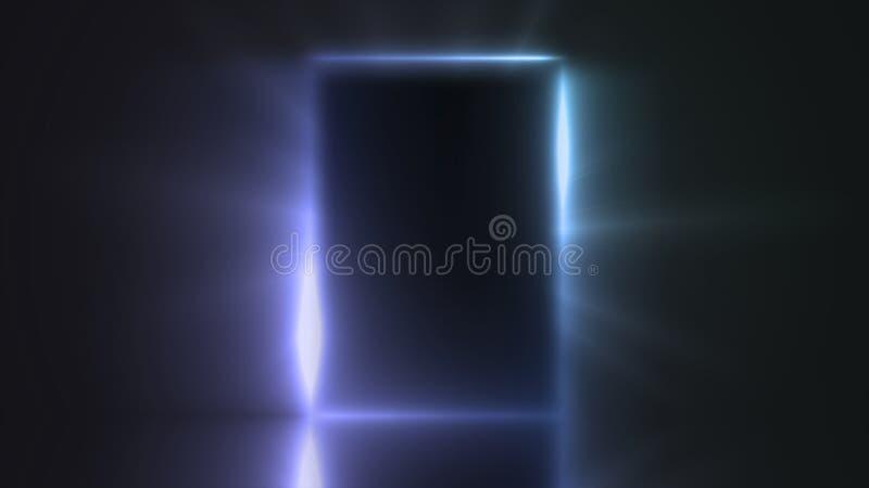Licht van de deur van een donkere ruimte stock illustratie