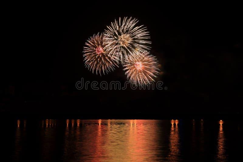 Licht van de vuurwerk toont het feestelijke viering bij nacht over het water stock afbeeldingen