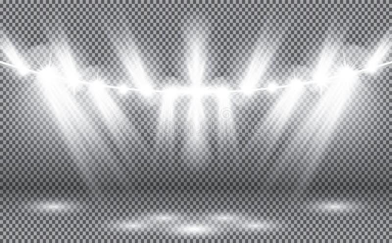 Licht van Schijnwerper op Transparante Achtergrond stock illustratie