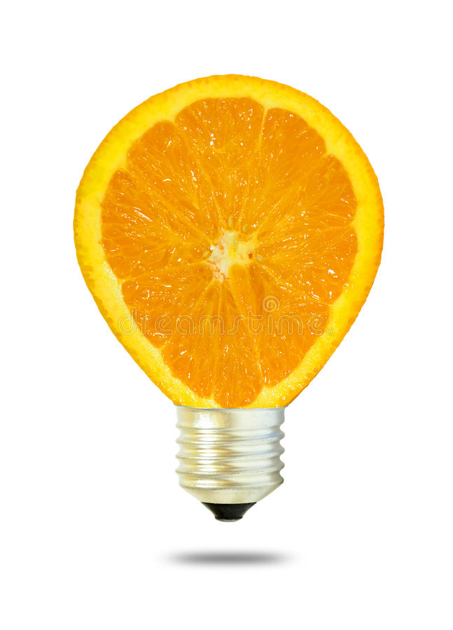 Lichtbirne bilden von der Orange, die auf w lokalisiert wird lizenzfreie stockfotos
