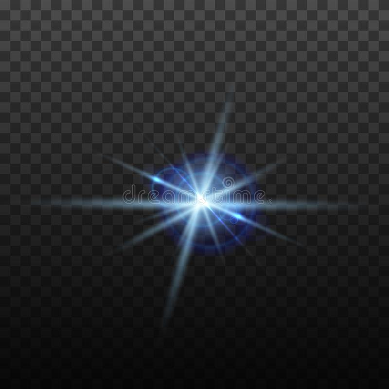 Lichtblauer Vektorlinseneffekt Runde isolierte, transparente Optik mit Strahlen Raumsternexplosion Luxus stock abbildung