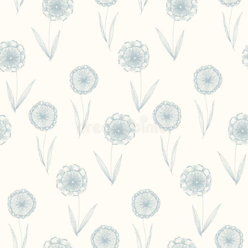 Lichtblauw patroon met de bloemen van de overzichtspaardebloem royalty-vrije illustratie