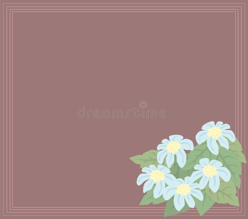 Lichtblauwe bloemen & bladerenbanner stock illustratie
