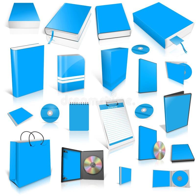 Lichtblauwe 3d lege dekkingsinzameling royalty-vrije illustratie