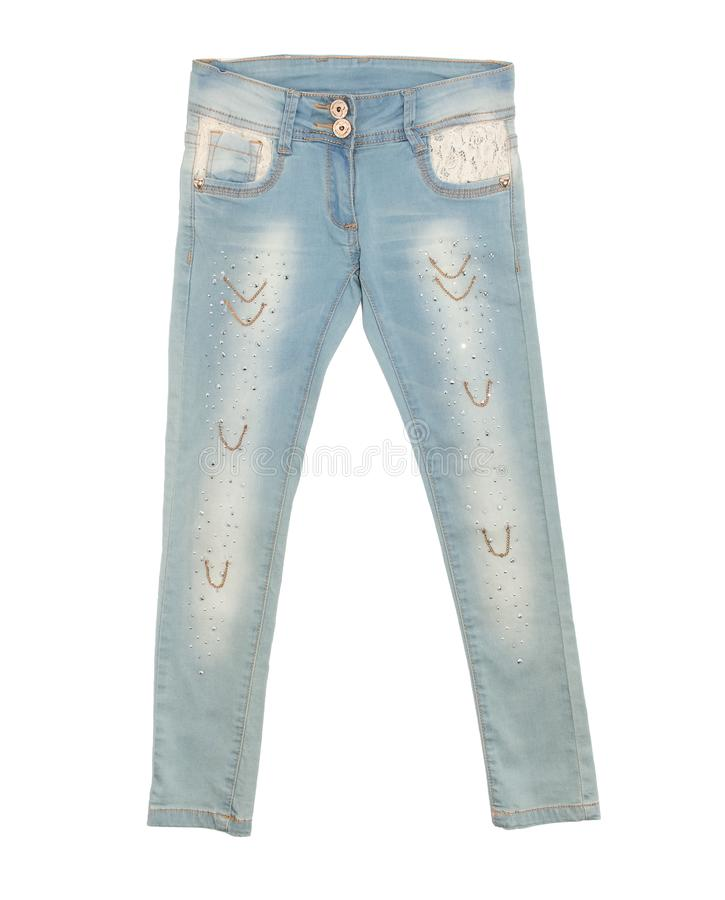 Lichtblauwe die jeans op witte achtergrond worden geïsoleerd stock foto