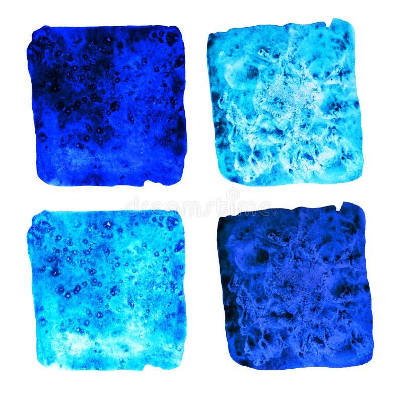 Lichtblauwe donkerblauwe waterverf vierkante vlekken stock afbeelding