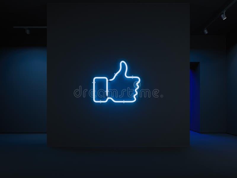 Lichtblauwe elektroduim op symbool, het 3d teruggeven royalty-vrije illustratie