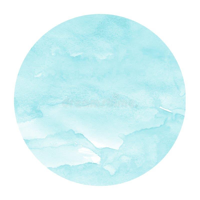 Lichtblauwe hand getrokken van het waterverf cirkelkader textuur als achtergrond met vlekken royalty-vrije stock foto's