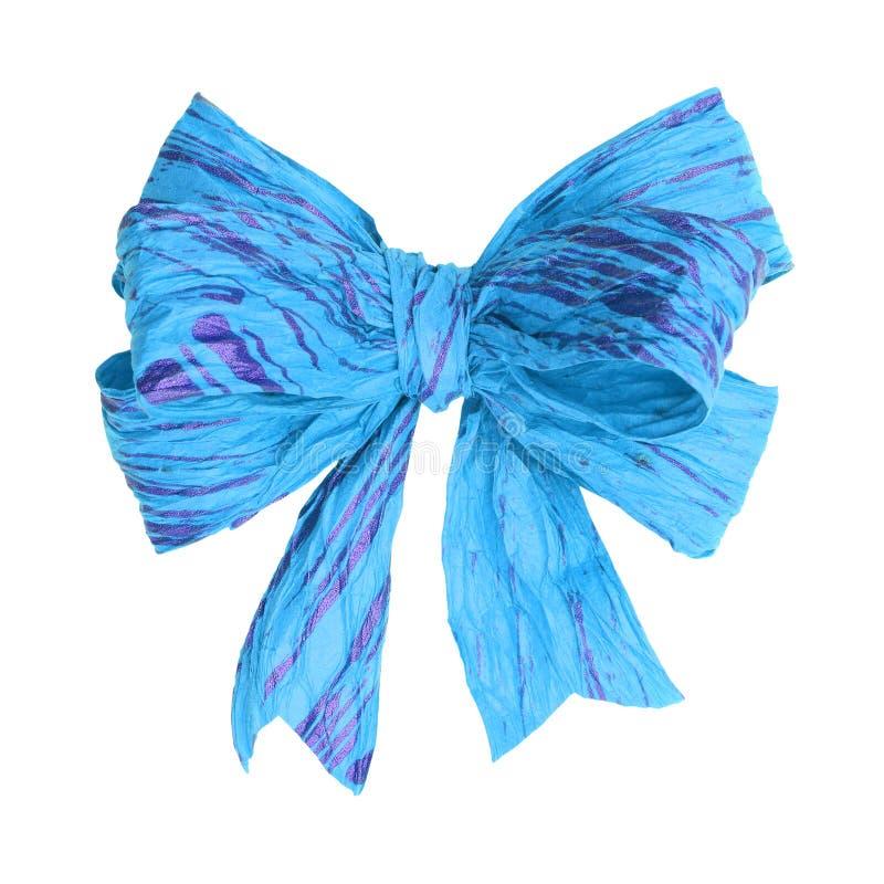 Lichtblauwe moerbeiboomdocument boog op wit stock afbeelding