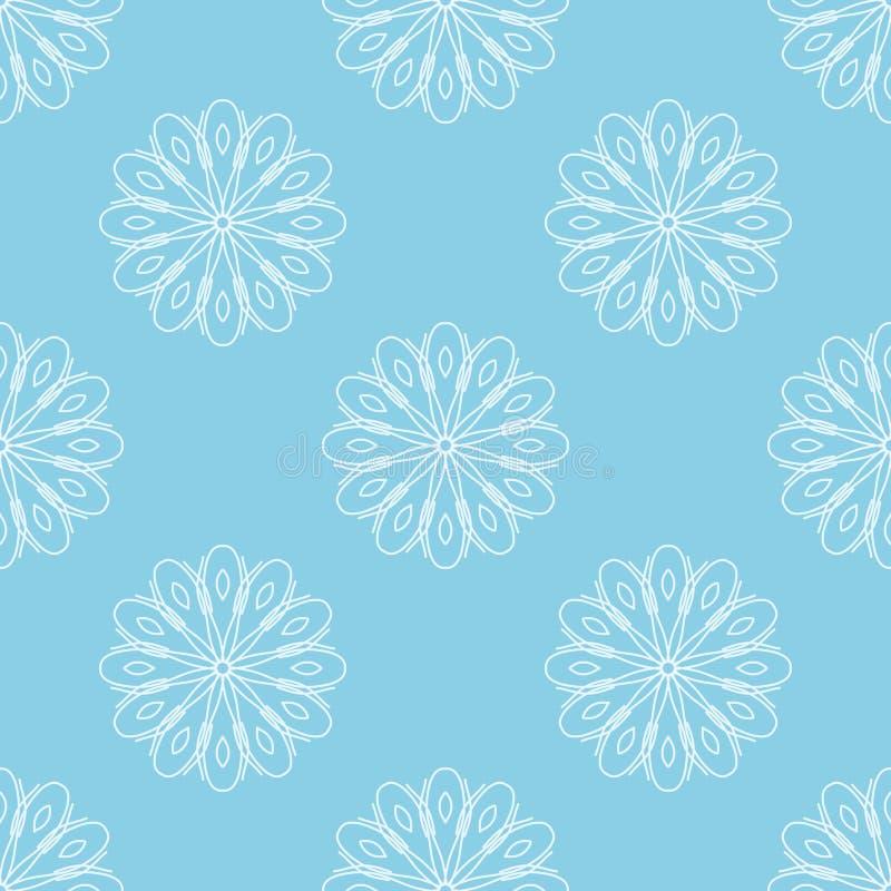 Lichtblauwe naadloze achtergrond met witte abstracte bloemen Gestileerd bloemenpatroon stock illustratie