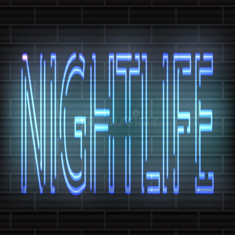 Lichtblauwe neonbrieven - Nachtleven tegen de achtergrond van een bakstenen muur Vector abstractie vector illustratie