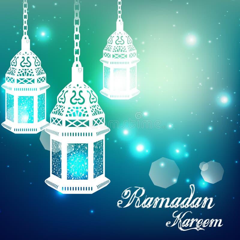 Lichtblauwe ramadan kareemachtergrond met Verlichte lamp stock illustratie