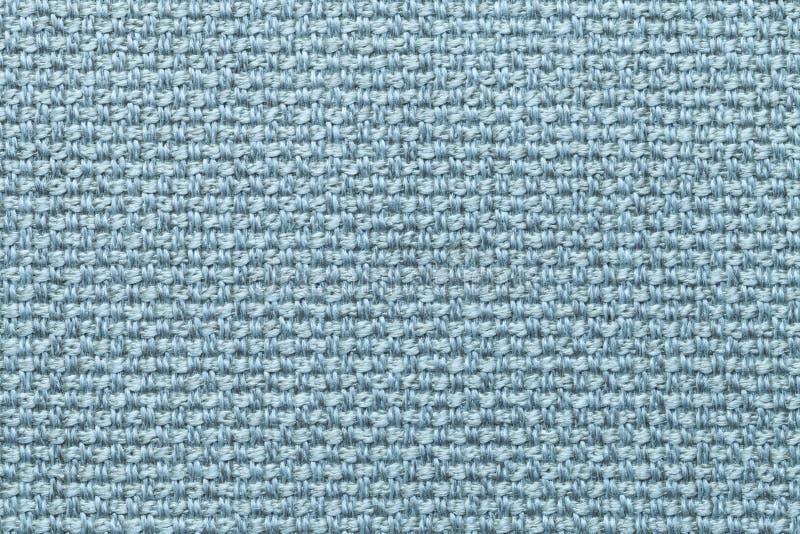Lichtblauwe textielachtergrond met geruit patroon, close-up Structuur van de stoffenmacro stock afbeelding