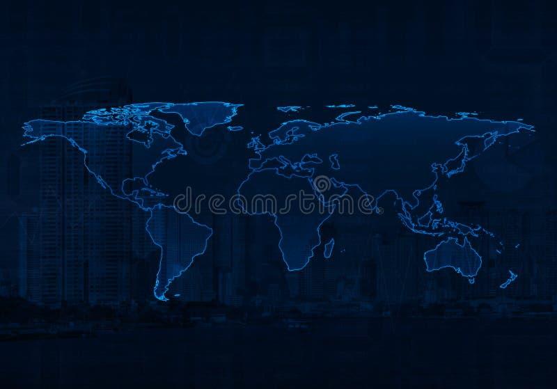 Lichtblauwe wereldkaart op achtergrond van de stads en de bedrijfsgrafiek, Elem stock afbeeldingen