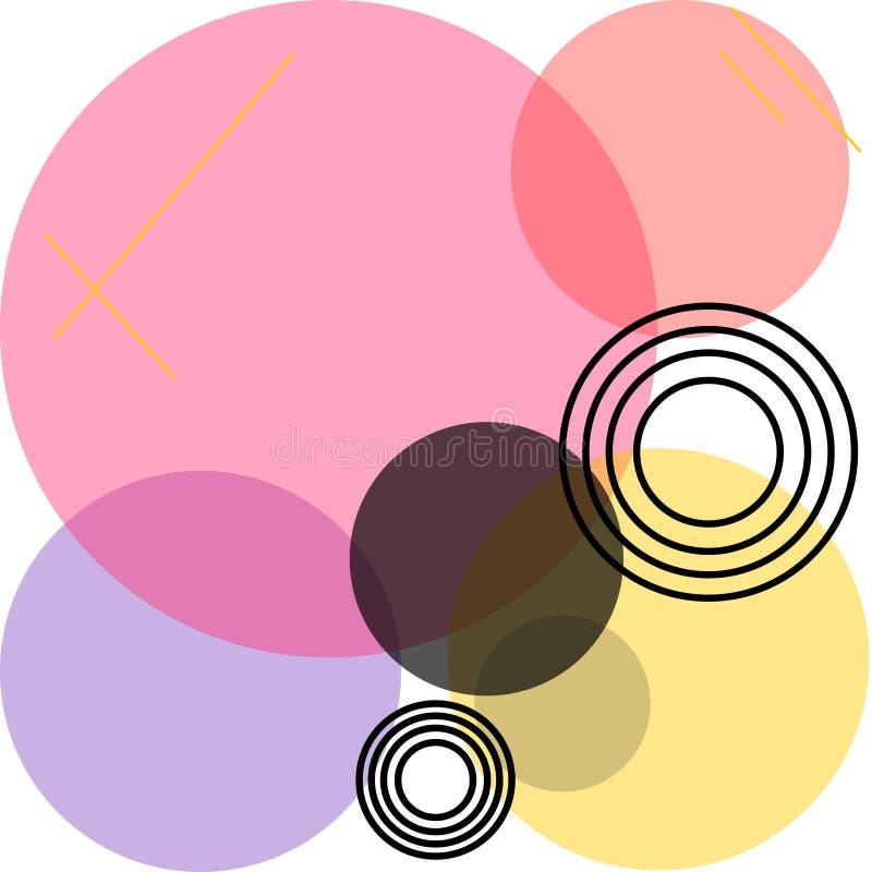 Lichtdurchlässige farbige schneidene Kreise von verschiedenen Größen lizenzfreie abbildung