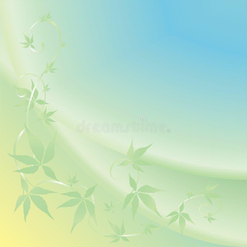 Lichte achtergrond met groene bladeren stock illustratie